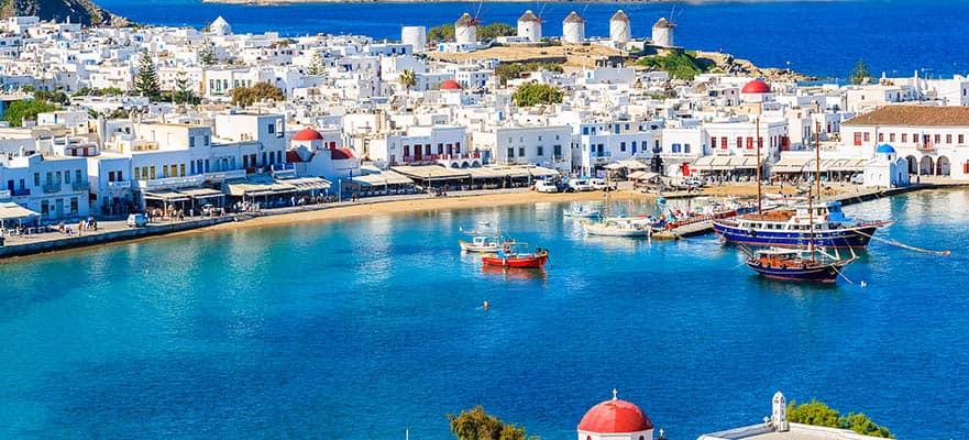 Viaje de ida y vuelta por las islas griegas desde Atenas:Santorini, Miconos y Rodas, 7 días