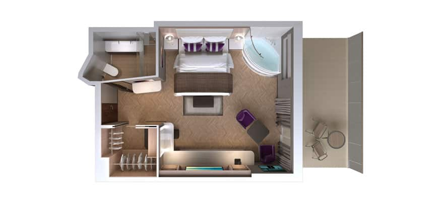 Plano de The Haven Spa Suite con balcón