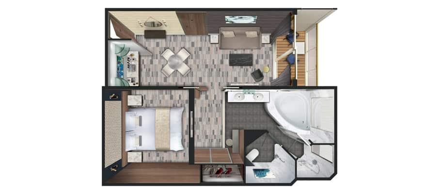 Plano de penthouse de lujo orientado a proa con balcón grande
