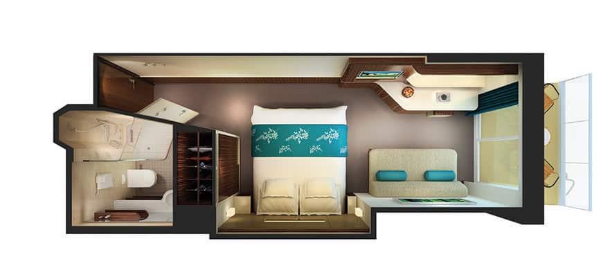 Plano del camarote con balcón y acceso al spa termal
