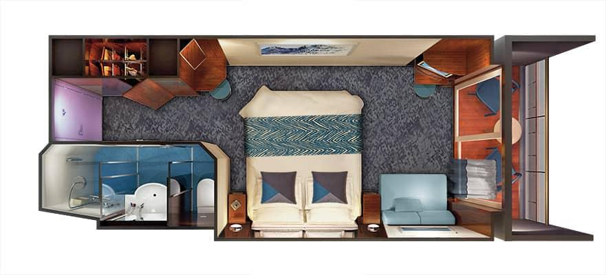 Plano de camarote con balcón Sail Away