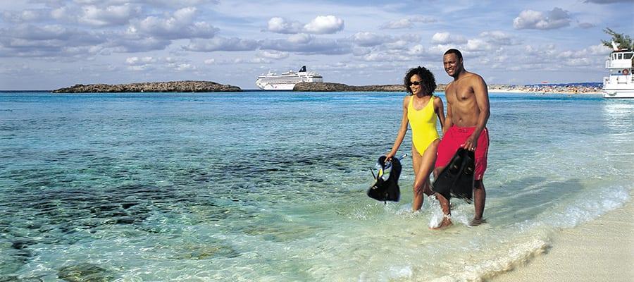 Playas de arena blanca en tu crucero por Bahamas