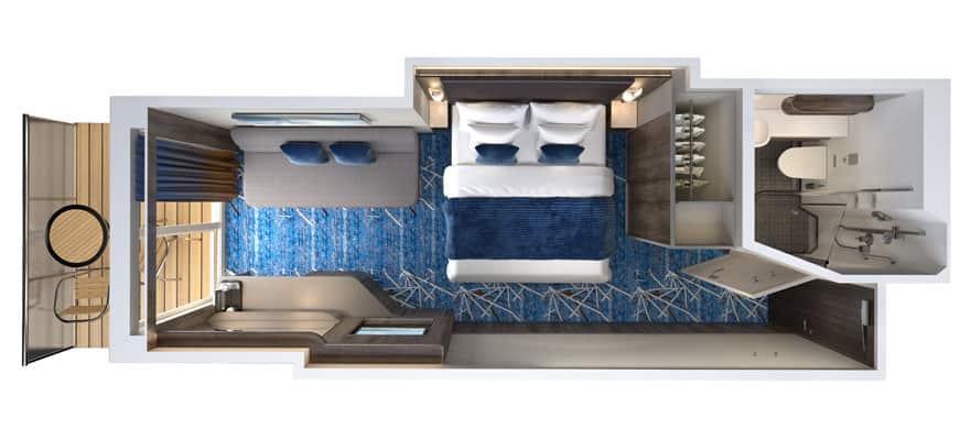 Plano de camarote con balcón grande