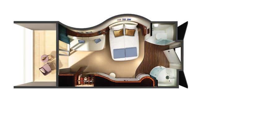 Plano del camarote con balcón con acceso al spa termal