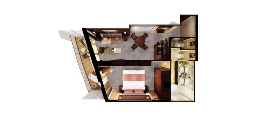 Plano de The Haven Penthouse orientado a popa con habitación principal y balcón
