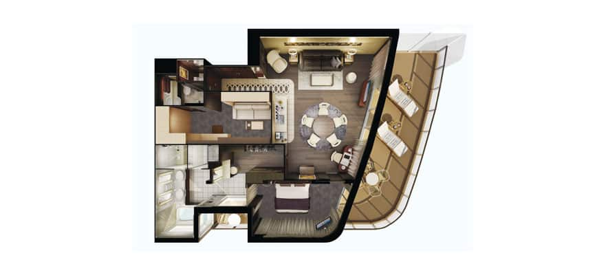 Plano de The Haven Deluxe Owner's Suite con balcón grande