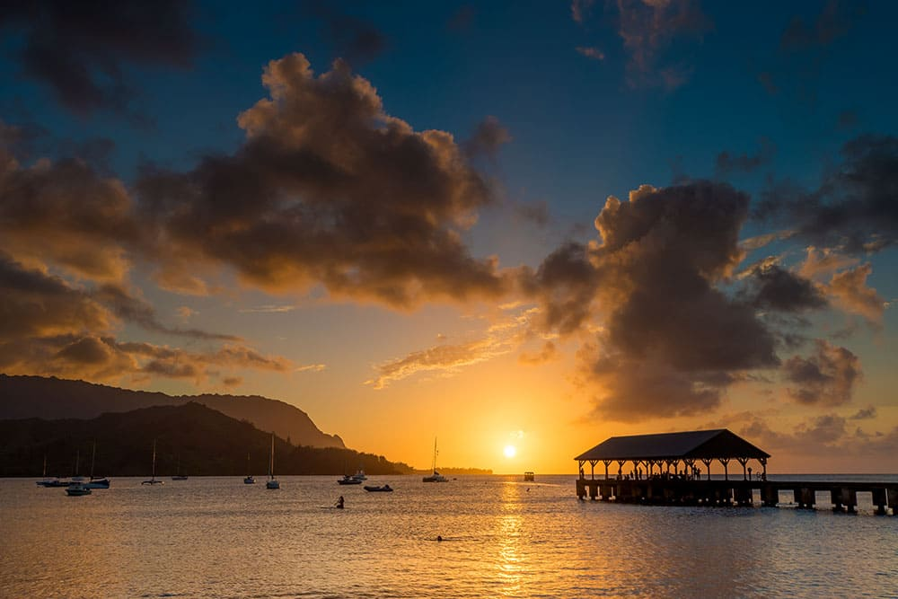 Sunset at Hanalei Pier - Kauai