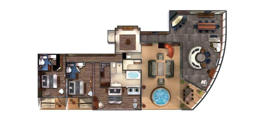 Plano de The Haven villa con jardín, 3 habitaciones