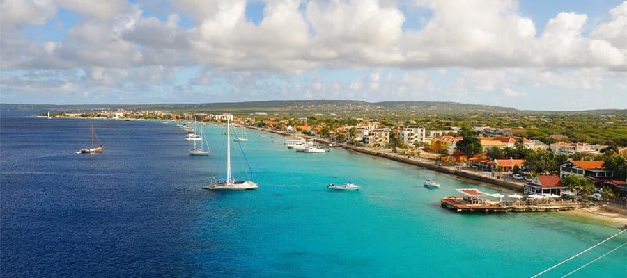 Vista aérea de Bonaire en tu crucero por el Caribe