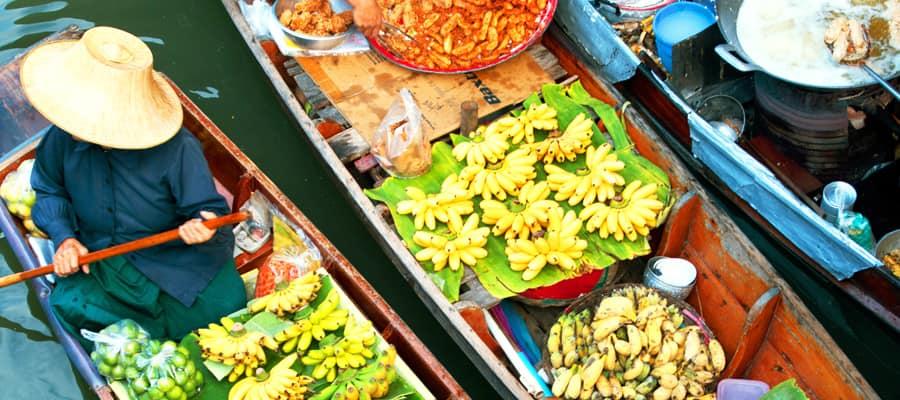 Mercado flotante tradicional en cruceros a Laem Chabang