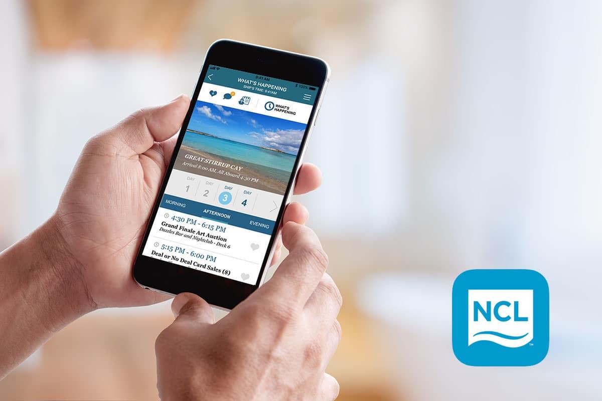 pantalla de la aplicación crucero norwegian