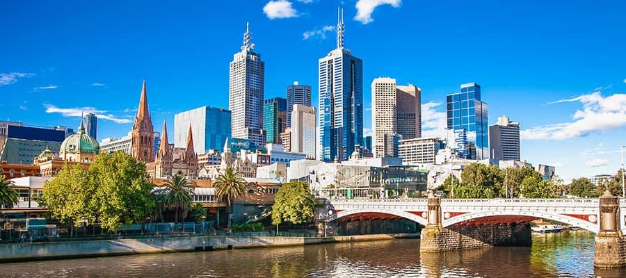 Vistas de la ciudad de Melbourne en tu crucero por Australia