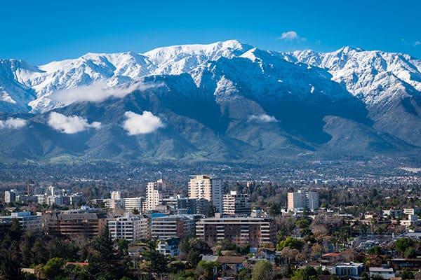 Cordillera de los Andes en Santiago, Chile