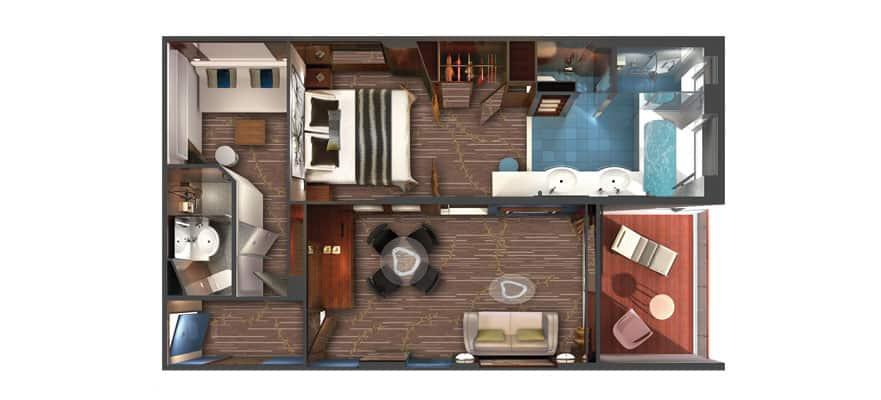 Plano de The Haven villa familiar con balcón, 2 habitaciones