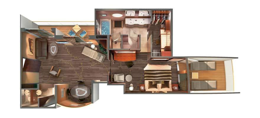 Plano de The Haven Deluxe Owner's Suite con balcón
