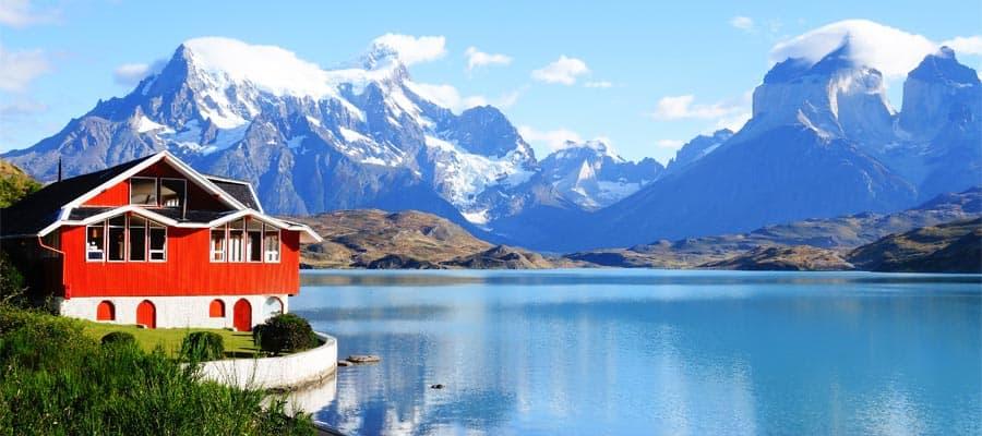 Vista hermosa del lago Pehoé