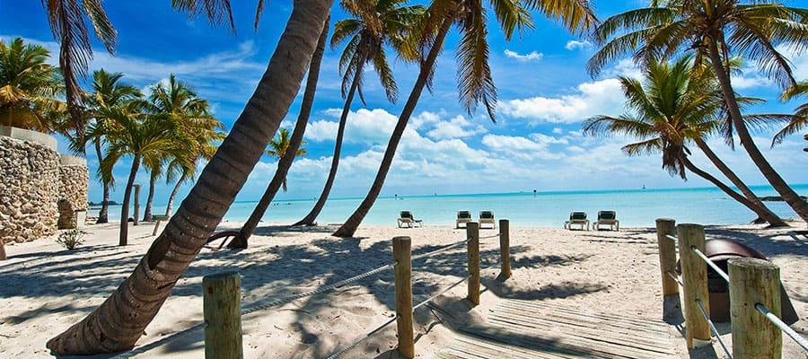 Relájate en la playa cuando viajes en el crucero a Cayo Hueso