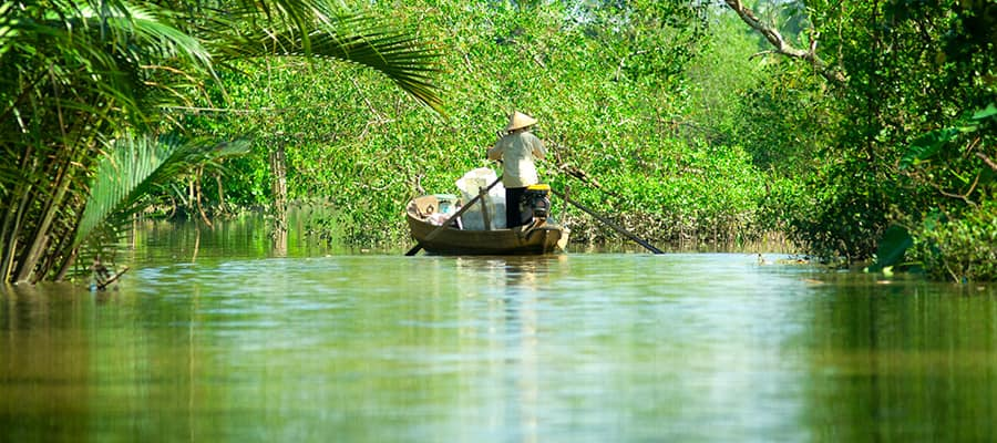 Delta del río Mekong en un crucero por Asia