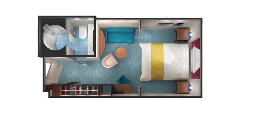 Plano de camarote familiar con vista al mar