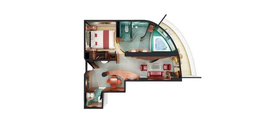Plano de Owner's Suite en la popa con habitación principal y balcón