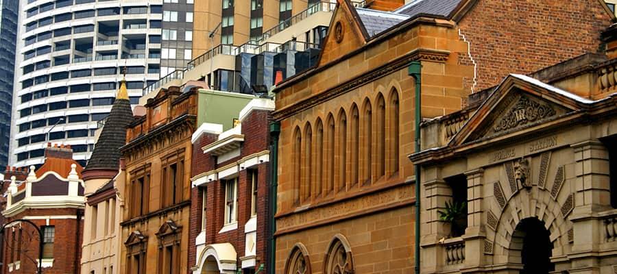 Edificio histórico y arquitectura en The Rocks en cruceros a Sídney