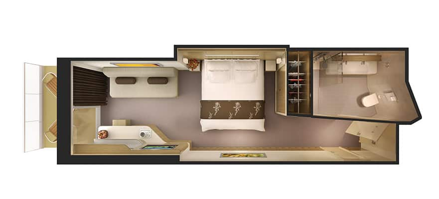 Plano de la minisuite con balcón y acceso al spa termal