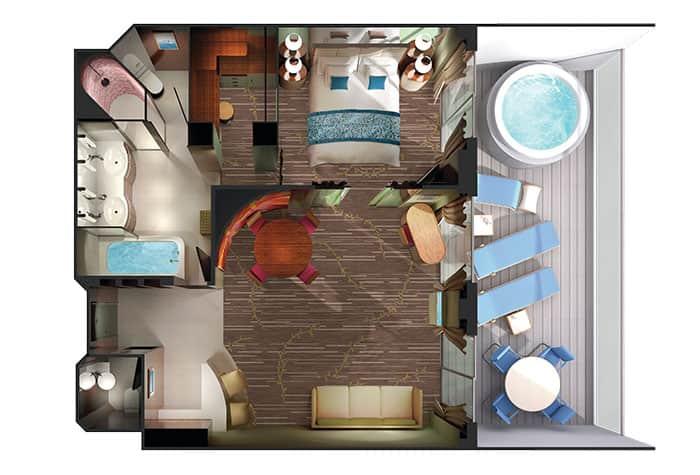 Plano de la Owner's Suite en el Pride of America