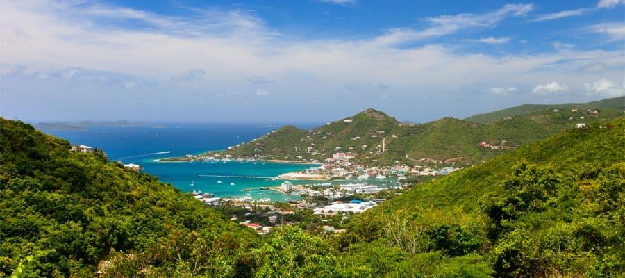 Vista aérea de Tórtola en tu crucero por el Caribe