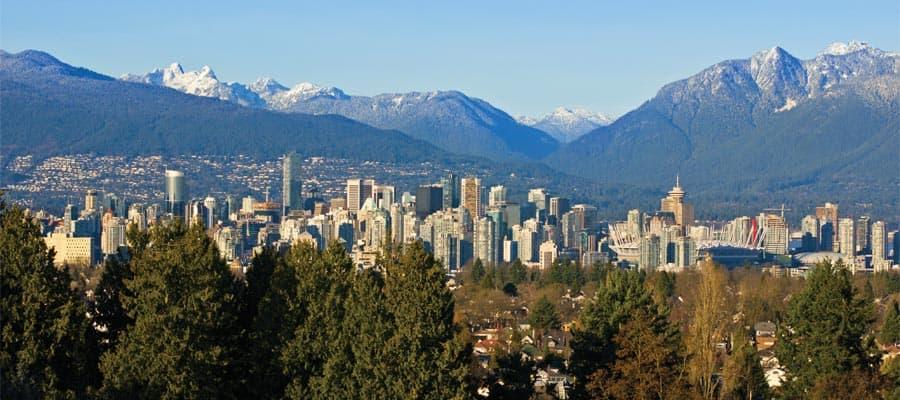 Vista aérea de Vancouver en un crucero por Alaska