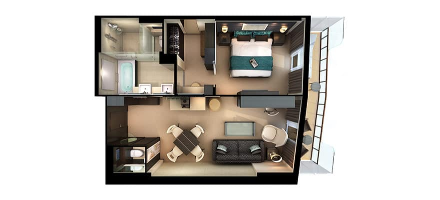 Plano de The Haven Deluxe Owner's Suite con balcón