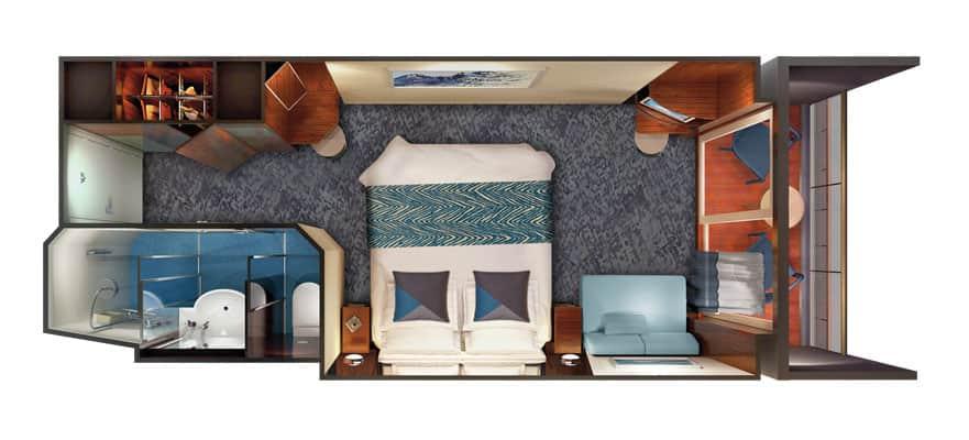 Plano de camarote familiar con balcón