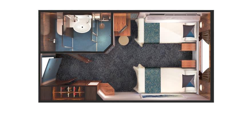 Plano de camarote con vista al mar y ventana panorámica