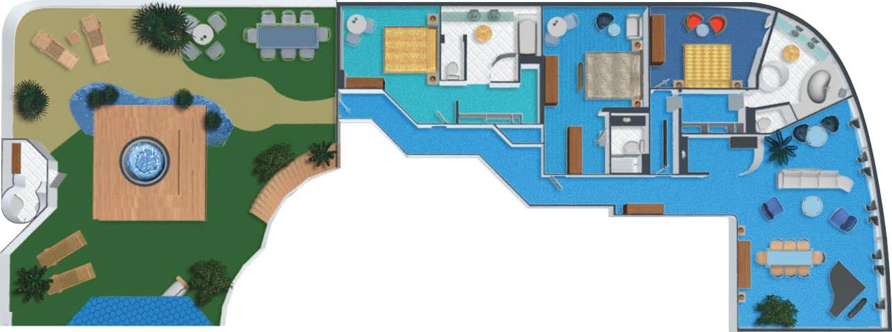 Plano de villa con jardín, 3 habitaciones